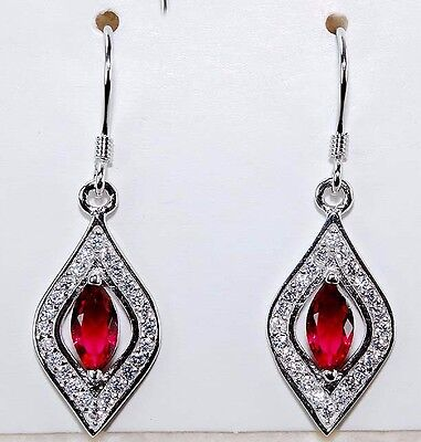 3CT Ruby & White Topaz 925 Solid Genuine Sterling Silver Earrings