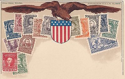 Stamp images USA America postcard by Zeiher produced mint condition