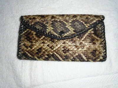 Vintage Genuine Leather Snake Skin Wallet / Coin / Checkbook ~ Perfect ~ Nos
