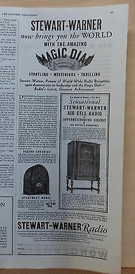 1932 magazine ad for for Stewart Warner Radios - Apt. model, Air Cell console