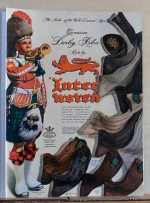 1944 magazine ad for InterWoven Socks - Colorful Scotsman in kilt, socks