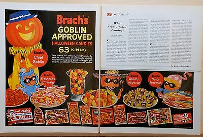 1964 two page magazine ad for Brach's Candy - Halloween ad, Goblin Approved