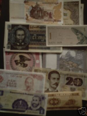 world paper money lot of 100 different circulated-uncirculated