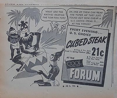 1938 newspaper ad for The Forum Cafeteria Minneapolis - Natives beat tom-tom