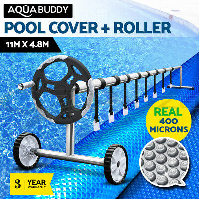 Solar Swimming Pool Cover Blanket Bubble Roller Wheel Adjustable 11 X 4.8M