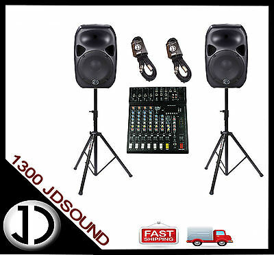 PA system - Titan 15D powered speakers, 8 channel mixer with effects, stands