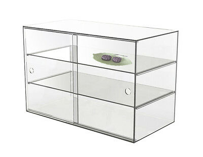 LARGE  ACRYLIC DISPLAY CABINET CAKE BAKERY MUFFIN DONUT Cracked 58x33x40cm,5mm