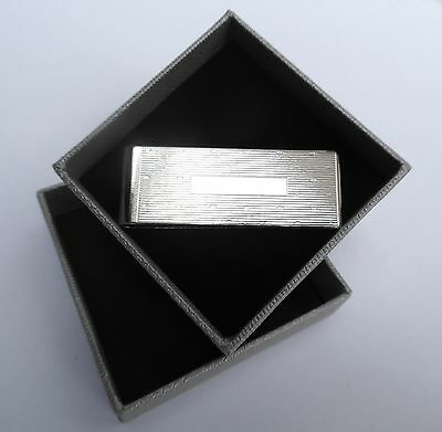 MONEY CLIP with **ENGRAVING PLATE in Shiny Silver Style METAL in a GIFT BOX--NEW
