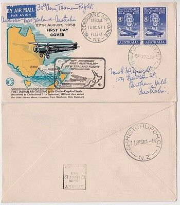 Stamp Australia 30 anniversary flight cover New Zealand Woodbourne Air Force