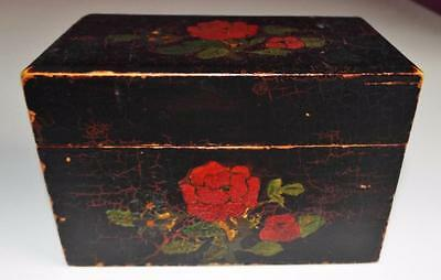 Antique Vintage Wooden Playing Card Box c1890 - Roses