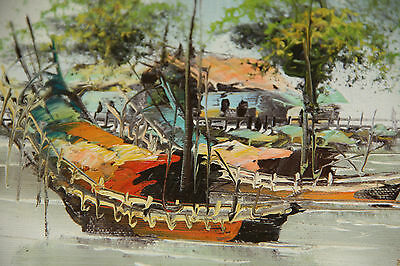 SMALL OIL PAINTING TWO FISHING BOATS SIGNED ORIENTAL multi colour oil painting