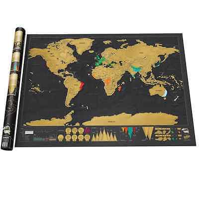 """Scratch Off Art World Map Poster Decor Large Deluxe Edition Travel 32.5"""""""" x 23.4"""
