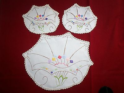 Duchess Set(3 Piece)...` Only Hand-Embroidered & Edged...deco-Ish Design
