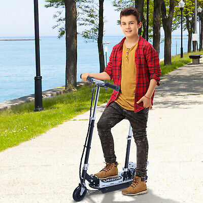 """Soozier 35.4"""" 8 mph Electric E-Scooter Bike Seat Battery Powered Foldable Black"""