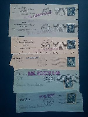 G934. Usa. New York. Lot Timbres Obliteres Perfores Sur Hauts D'enveloppes