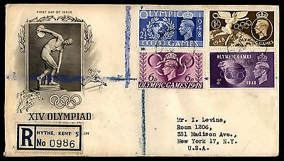 Great Britain Olympic Games 1948 Art Craft Registered FDC