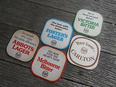Vintage 5 CUB beer coasters Victoria Bitter Carlton Fosters Abbots Melbourne