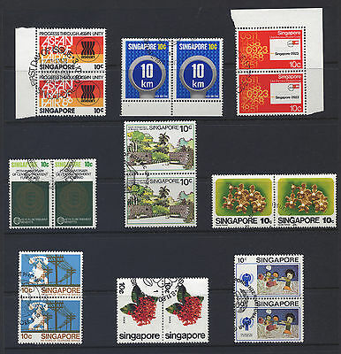 Singapore - Mint Never Hinged Pairs - P.o Fresh - Day Of Issue