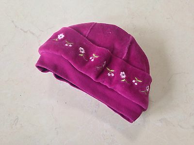 Baby Girl Mauve Velour Embroidered Hat 3-6 Months