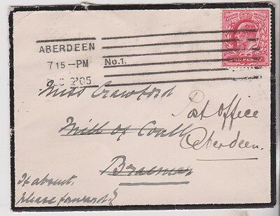 1905 KEVII MOURNING COVER WITH 1d RED STAMP MAILED TO THE ABERDEEN POST OFFICE