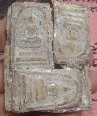 "Huge Multi tablet fired clay famous monk ""Pra Somdaj Toh""Thai Amulet#"