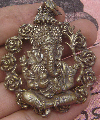Huge tablet bronze Locket amulet Multi Arm Ganesh Hindu god back Om