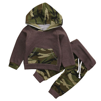 2Pcs Toddler Baby Boys Camo Hoodie Tops +Long Pants Outfits Set Clothes US Stock