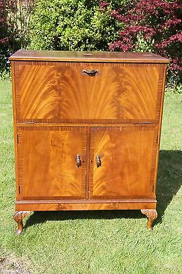 HERKEL Mahogany Fall Front Cocktail Cabinet Bar on Carved Cabriole Legs