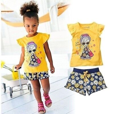 Baby Girl Toddler 2Pcs Short Sleeve Yellow autumn Casual Outfit Kids Clothes