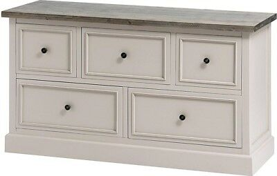 Hill Interiors Studley Collection 5 Drawer Low Chest Sideboard   Grey Wood