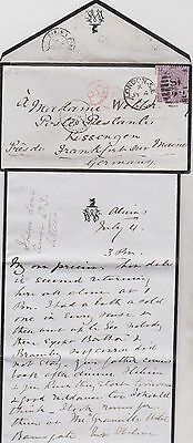 1870 QV LONDON MOURNING COVER WITH 6d MAUVE STAMP TO FRANKFURT SUR MAIN GERMANY