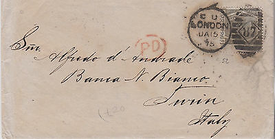 1875 QV LONDON COVER WITH 6d GREY STAMP MAILED TO TORINO ITALY