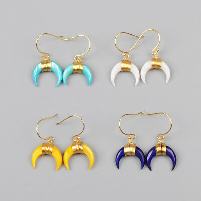 1Pcs Crescent Moon Horn Dyed Real Shell Wire Wrap Gold Plated Earrings HG1123-E