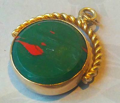 Antique Edwardian Rolled Gold Agate Glass Swivel Fob, Charm Pendant