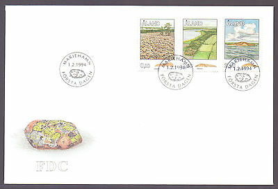 ALAND 1994 stamps Traces of the Inland Ice I on FDC