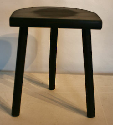 "Vintage French  Wooden Half-moon Stool 3 Straight Legs 13"" (33cm) Tall"