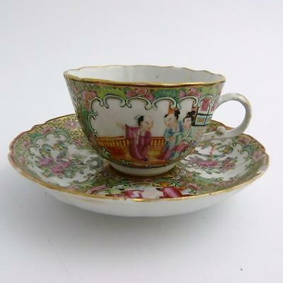 19th CENTURY CHINESE CANTON FAMILLE ROSE MEDALLION  PORCELAIN CUP AND SAUCER