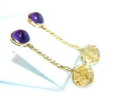 Ohrringe Ohrstecker 750 GOLD 18 kt  mit  Amethyst Citrin Earrings