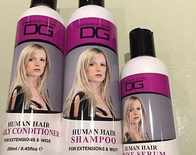 Dream Girl Hair shampoo,conditioner & serum for human,wigs & extensions 45 Clips