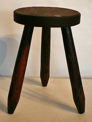 """Vintage French  Wooden Round Stool Round Straight Legs 14 3/4"""" (37 1/2cm) Tall"""