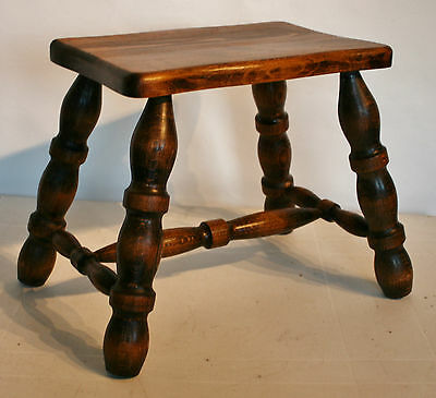 "French Heavy Quality Wooden Oblong Stool 4  Legs 12"" (30 1/2cm) Tall"