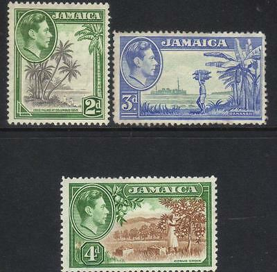 JAMAICA 1938-1952 DEFINITIVES 3 MINT VALUES (2d U/M)