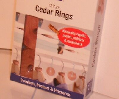 Moth Repellant 12 Cedar Wood Clothes Care Discs Rings Hangers Wardrobes  Drawers