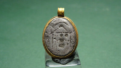 Ancient Gold & Silver Pendant Ceremonial Temple Image Grk-Roman 200Bc-100Ad
