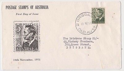 Stamp Australia 1951 KGV1 3d green definitive on Rouvre Cox cachet FDC