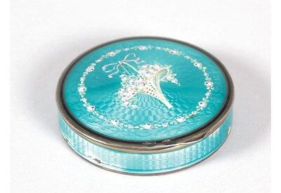Antique french superb compact sterling silver blue enamel, flowers guilloche box