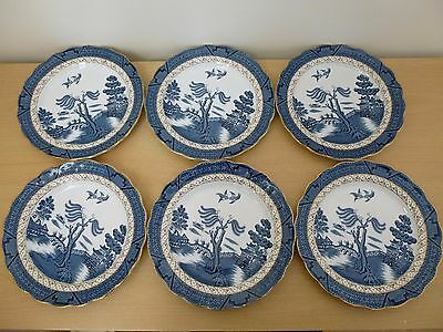 6 Booths Real Old Willow 9.5 inch Dinner/Luncheon Plates - Vintage
