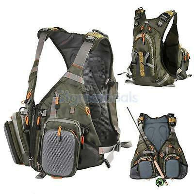 Multi-pocket FLY FISHING VEST & BACKPACK Chest Bag Waistcoat Outdoor Hunting