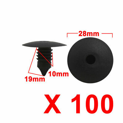 100pcs Interior Door Trim Panel Board Moulding Clip Rivet Retainer Fastener 10mm