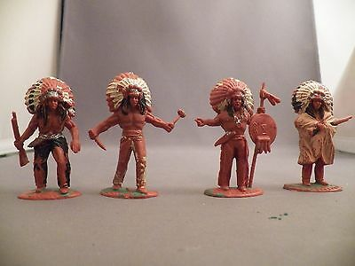 Timpo 56MM Solid Indian Chief Lot Four Different